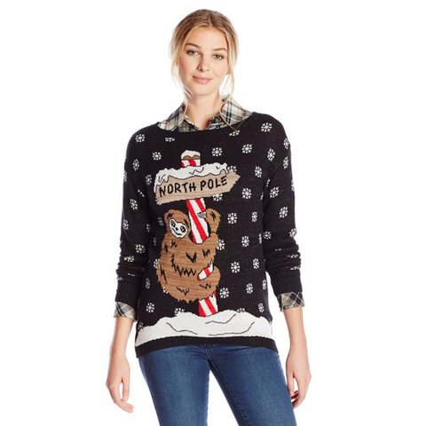 Sloth on North Pole Women's Ugly Christmas Sweater