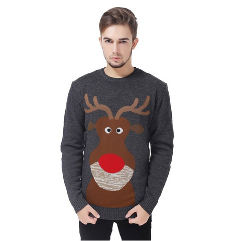 Close Up Reindeer UNISEX Ugly Christmas Sweater