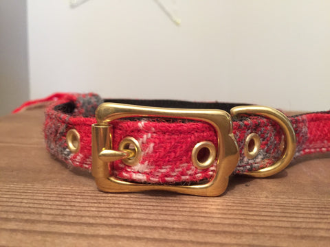 'Harris Tweed' Dog Collar - Red/Grey - Solid Brass