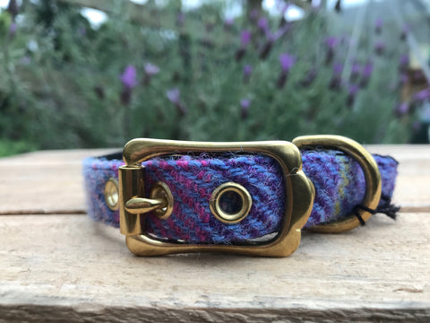 'Harris Tweed' Dog Collar - Lilac - Solid Brass