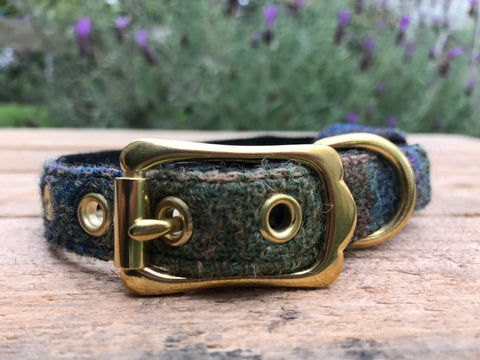 'Harris Tweed' Dog Collar - Blue & Green - Solid Brass