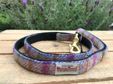 'Harris Tweed' Dog Lead -  Light Pink Check - Solid Brass