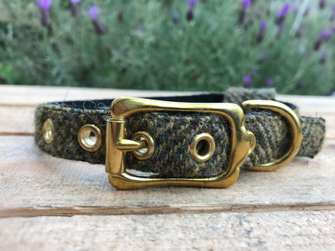 'Harris Tweed' Dog Collar - Olive Green - Solid Brass