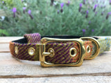 'Harris Tweed' Dog Collar - Orange & Purple - Solid Brass