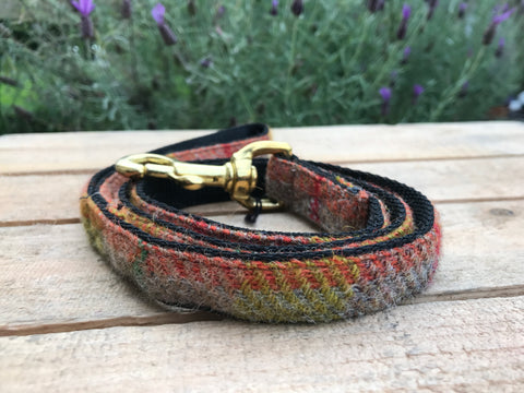 'Harris Tweed' Dog Lead -  Orange & Purple - Solid Brass