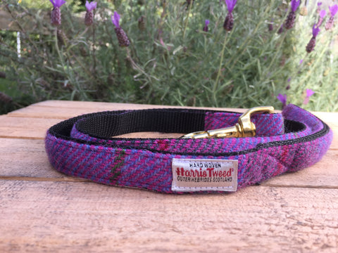 'Harris Tweed' Dog Lead -  Lilac - Solid Brass