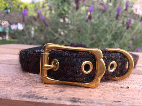 'Harris Tweed' Dog Collar -  Rich Brown - Solid Brass