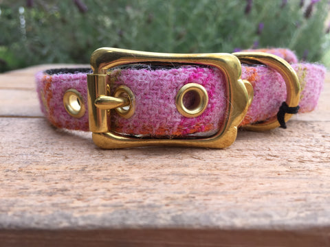 'Harris Tweed' Dog Collar - Mid Pink - Solid Brass