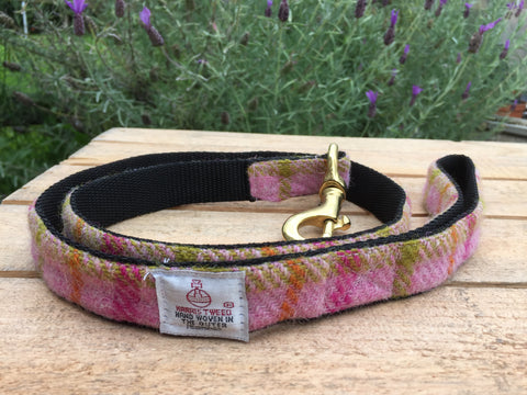 'Harris Tweed' Dog Lead -  Mid Pink Check - Solid Brass