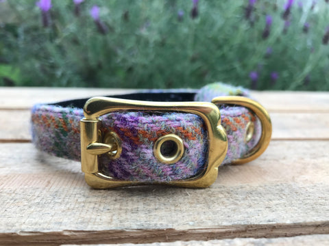 'Harris Tweed' Dog Collar - Light Pink - Solid Brass