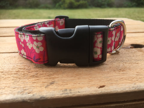 Liberty Print Dog Collar - Deep Pink with White Flowers