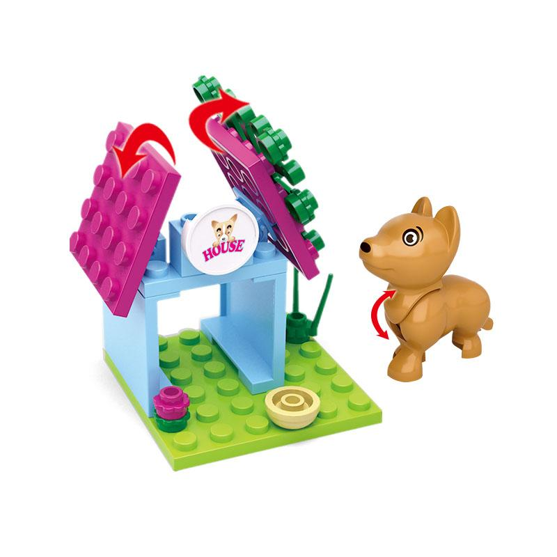 0513 SLUBAN Girl Friends Pet Puppy Dog House Model Building Blocks Classic Enlighten Figure Toys For Children Compatible Legoe