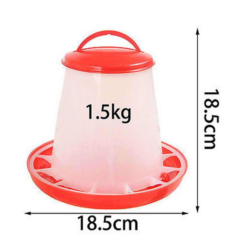 1.5kg Plastic Food Feeder Chicken Chick Hen Poultry Lid Handle Feeders u71102  ES2
