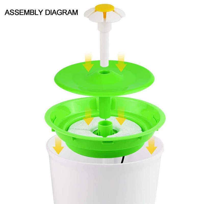 1.6L Pet Water Fountain Flower Style Automatic Electric Circulating Pet Water Drinking Bowl Dispenser with Filter Silicone Mat