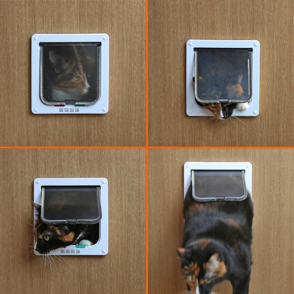 1 PC 4 Way Magnetic Locking Lockable Pet Cat Dog Safe  Kitten Flap Door Products New Medium Large White Brown
