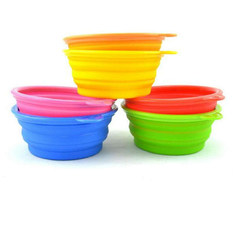 1 PC Hot Dog Pet Portable Silicone Collapsible Travel Feeding Bowl Water Dish Feeder Candy Color