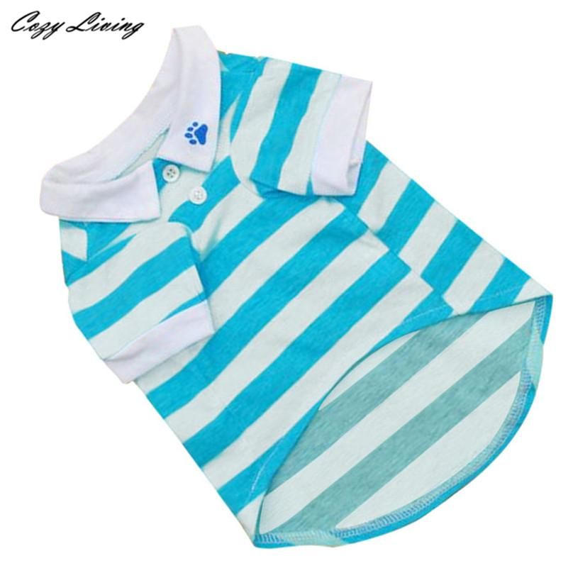 1 PC Pet Clothes For Small Dogs Cats XS-L Cute Dog Puppy T Shirt Clothes Lapel Stripe Cotton Pet Clothes Hot Cheap D19
