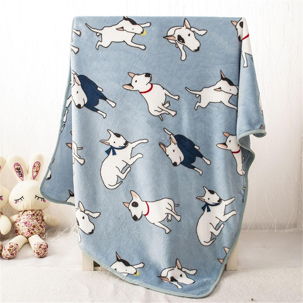 1 PC Soft Flannel  Warm Bull Terrier Print Pet Bed Mats House Soft Blankets for Small Medium Large Cats Dogs 100*75cm