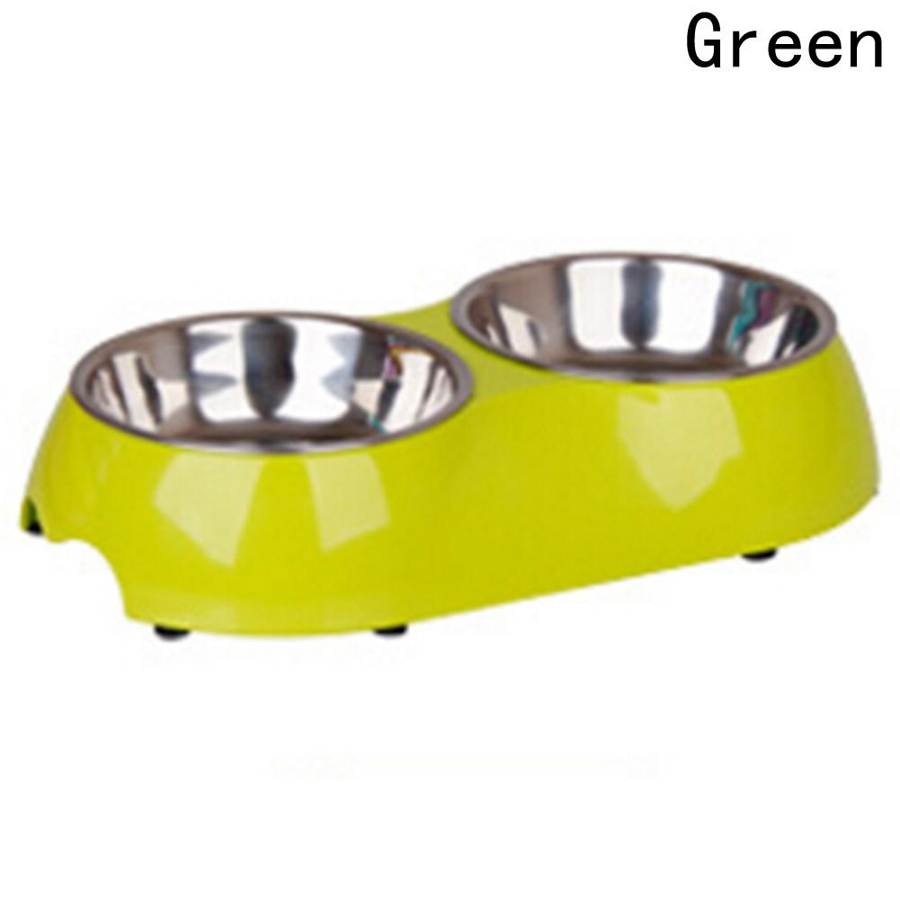 1 PCS Pet Dog Bowl Double Puppy Cat Bowls Cat Water Dish Feeder Detachable Pet Supplies Stainless Steel Pet Bowl