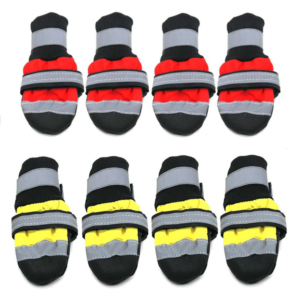 1 Pair 2 Colors Winter Pet Dog Shoes Waterproof Reflective Boots Anti-slip Rain Snow Boots Footwear Thick Warm Socks Booties