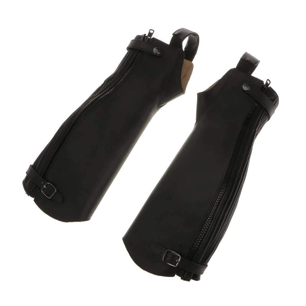 1 Pair Black Soft PU Leather Equestrian Horse Riding Gaiters Half Chaps Medium Black Leg Covers Quality Sports Leg Protector