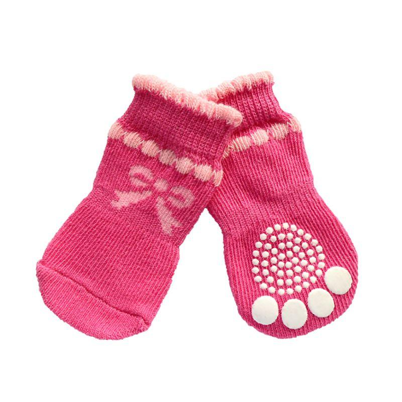 1 Pair Pet Dog Socks Soft Cotton Warm Antiskid Paws Dirts Away Easy Washing Dog Cat Shoe Socks