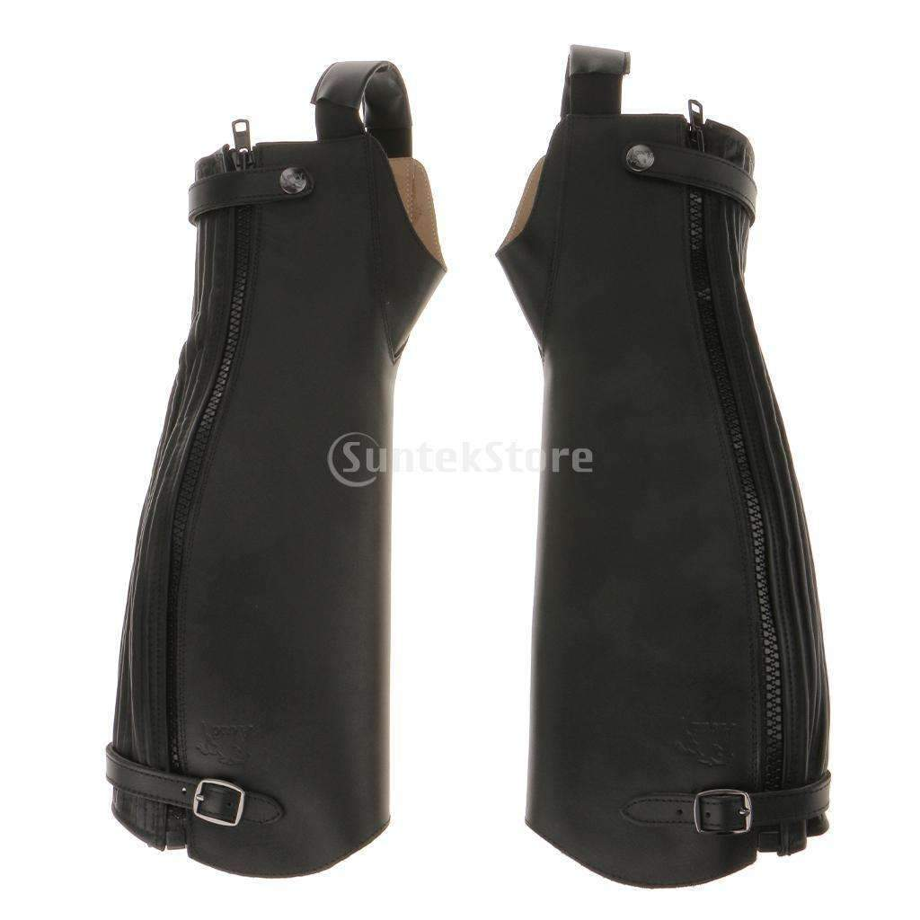 1 Pair Soft Leather Equestrian Horse Riding Gaiters Half Chaps Black XXS/XS/S/L/XL/XXL/XXXL