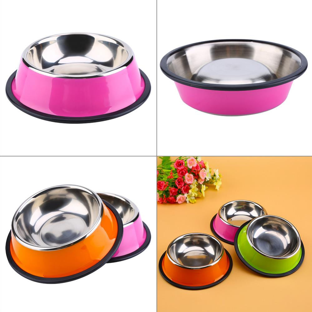1 Pc New Arrival Stainless Steel Anti-skid Pet Dog Cat Food Water Bowl Pet Feeding Bowls XS-L 3 colors