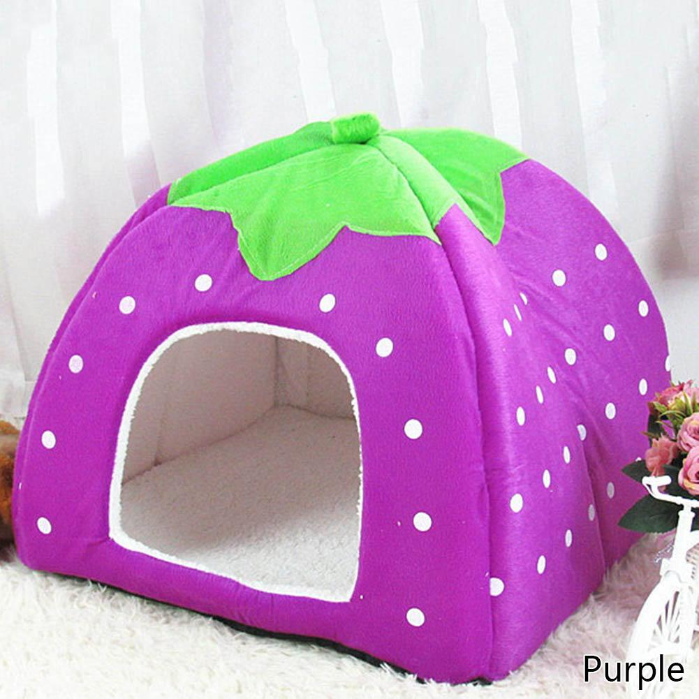 1 Pc Pet Dog Cat House Foldable Soft Winter Leopard Dog Bed Strawberry Cave Dog House Cute Kennel Nest Dog Fleece Cat Bed