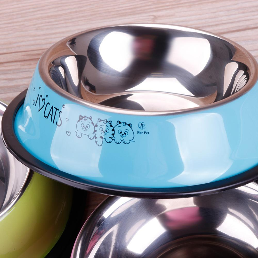 1 Pc Printing Stainless Steel Pet Bowl Dog Cat Anti-skid Food Water Dishes Feeding Tool #261535