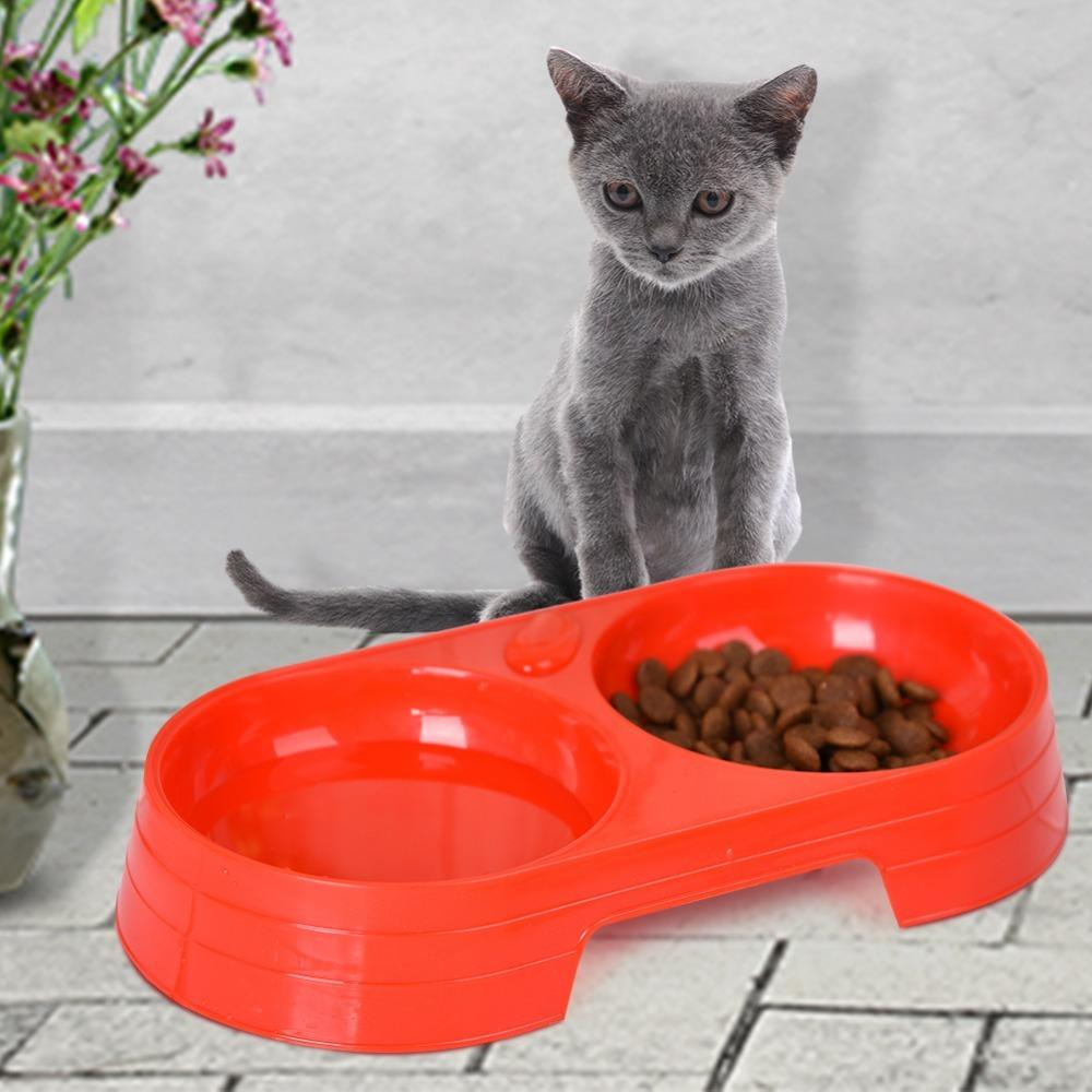 1 Pcs Double Pet Bowl Dog Cat Pet Food Water Feeder Dish Pet Plastic Food Water Compartment Feeding bowls