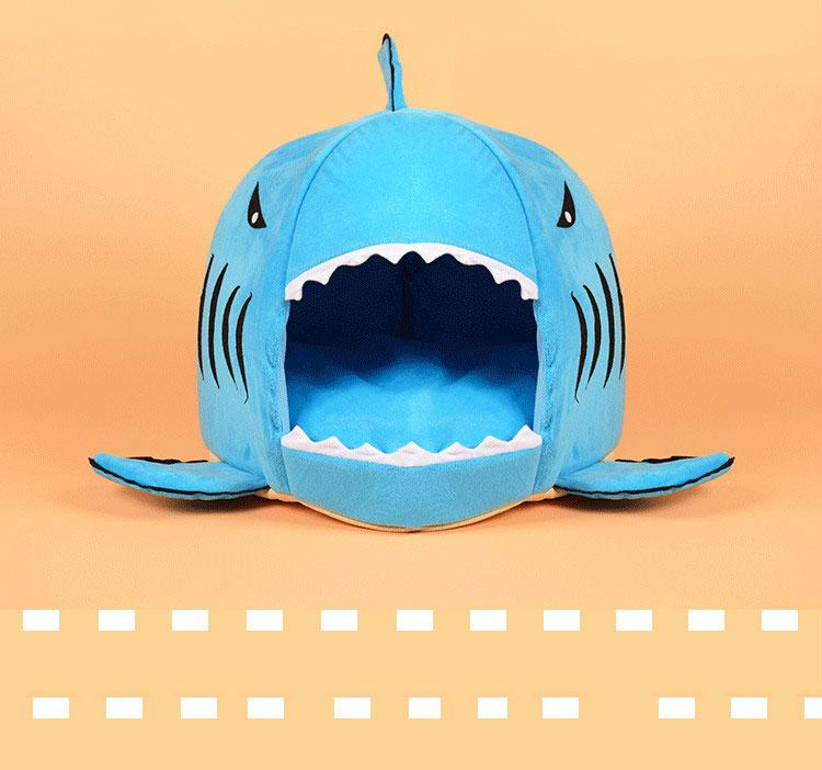 1 Pcs Shark shape dog house Warm Indoor Kitten Dog Cat Bed Puppy Pet House with Mat pet products 42*42cm S2