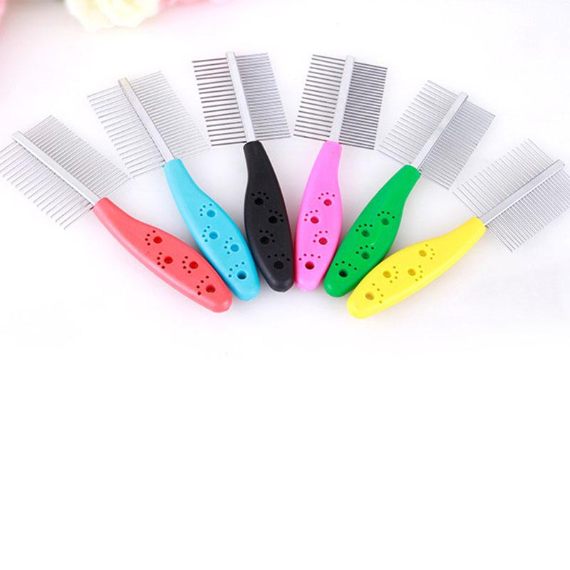 1 Piece Double Row Pets Comb Dogs And Cats Cosmetology Fine Wool Stainless Steel Plastic Handle Combs Pets Cleaning Brushes