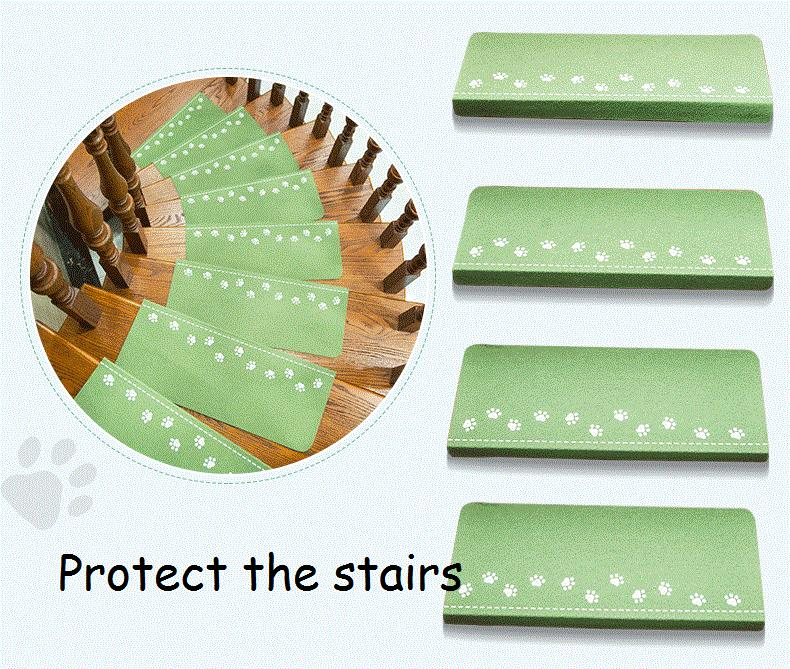 1 Piece Indoor Staircase Self-adhesive Fluorescent Luminous Mat Dog Footprint Claw Pattern Carpets Step Soft Stair Treads Mats