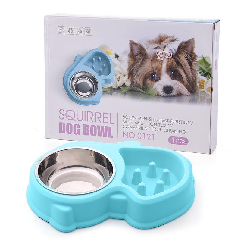 1 Piece Pets Food Bowl Aid Digestion Eat Slowly Anti Choking Dogs Feeding Bowl Double Groove Cats Plastic Feeders Bowls