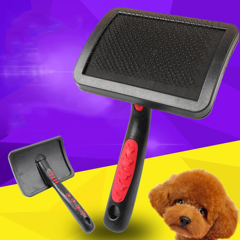 1 Piece Plus Size Curved Surface Pin Gear Pets Comb Black Plastic Handle Red Footprints Large Dogs Shepherd Dogs Combs Brushes