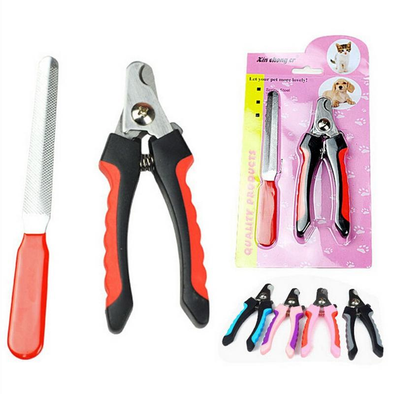 1 Set Pet Dog Nail Scissors Clippers Paw Nail Files Animal Grooming Safety Cutter Tool Pet nail Clipper with Nail file