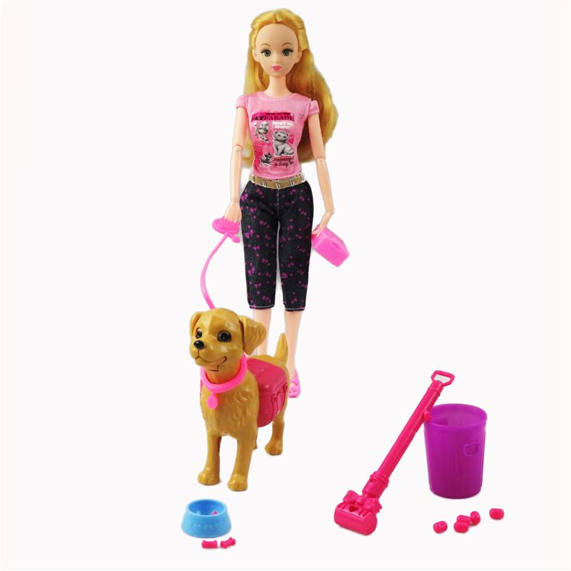 1 Set Plastic Dog Pet Sets Dog Food Bones Outside 1/6 Dollhouse Accessories Puppet Toy For Barbie Doll Play House Kids Gift