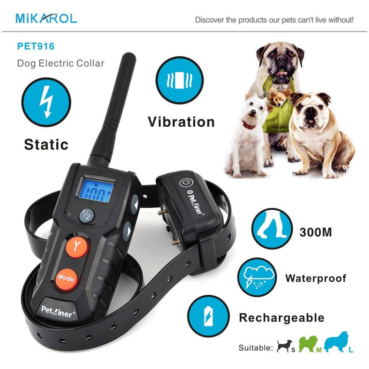 1 or 2 Dog Electric Collar Waterproof Dog Training Collar with Remote Electronic Dog Collar 300M Range