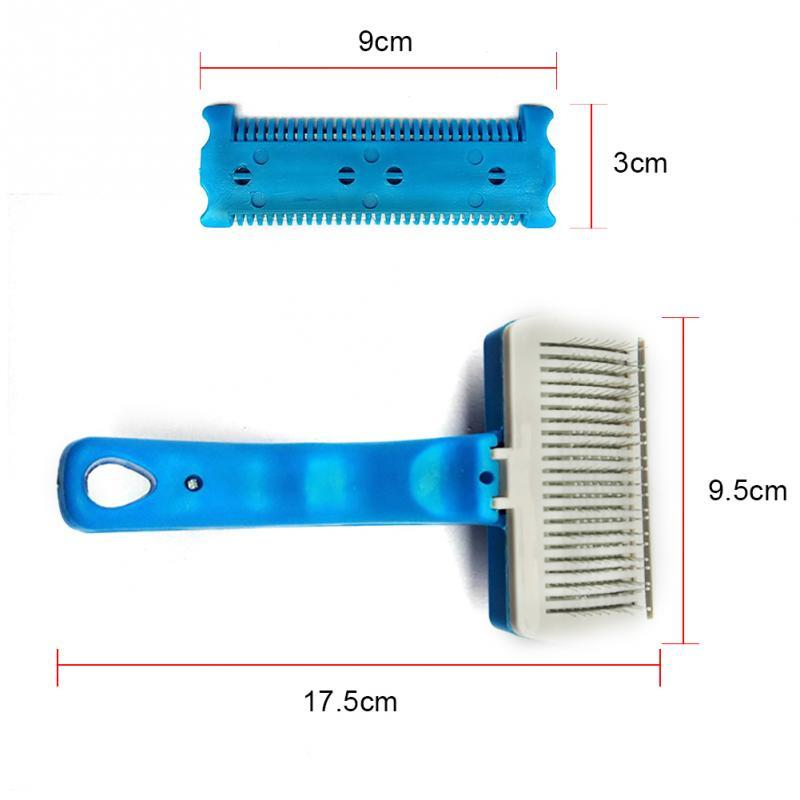 1 pc High Quality Stainless Steel Plastic Pet Cat Dog Brush Self Cleaning Grooming Brush Hair Shedding Comb Trimmer