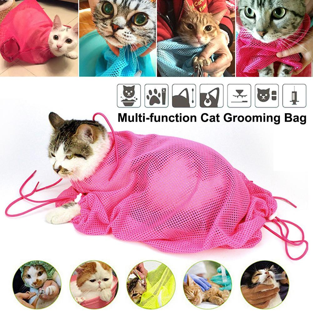 1 pc  Multifunctional Cat Grooming Bags Cat Bath Bags Fitted Mesh Cat Clean Bags Pet Supplies Novelty Gift Candy Colors W3