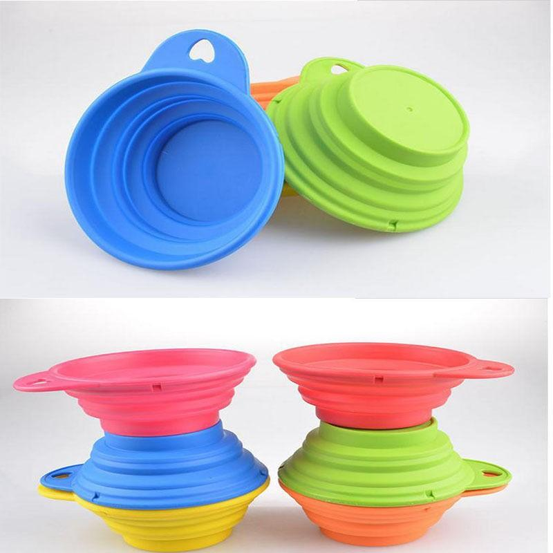 1 pc Pet Feed Bowl Portable Collapsible Travel Dog Feeding Dish 2 Size Food Water Dish Feeder Pet Products