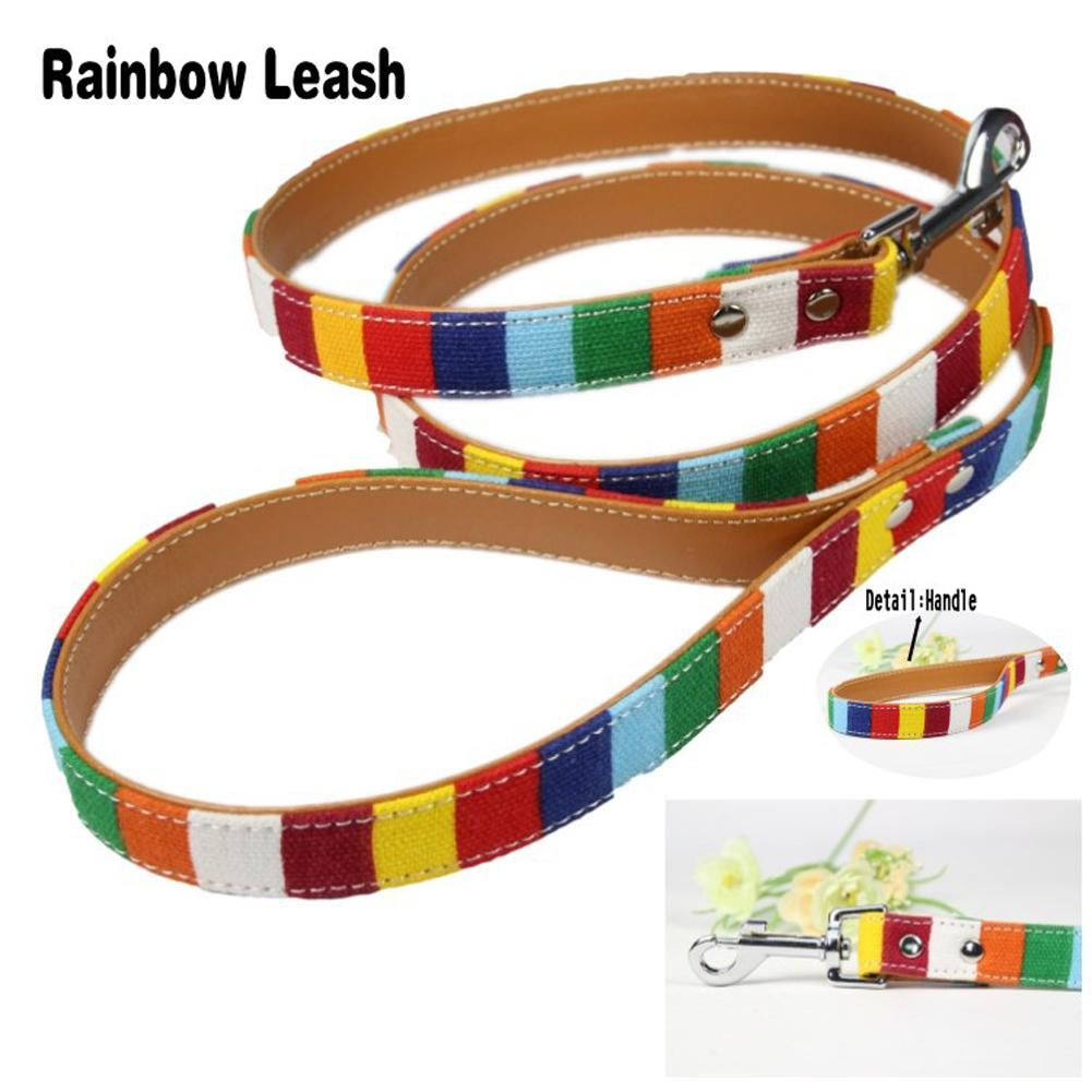 1 pcs 3 size Leather Dog Collar Cavas High quality Pu Leather Colorful Rainbow Plain  Pet Supplies Collar