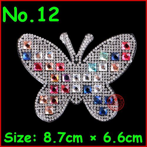 1 pcs Cartoon Patches Color Dog hot fix rhinestone iron on motif iron on crystal badge for children women clothes wedding patch