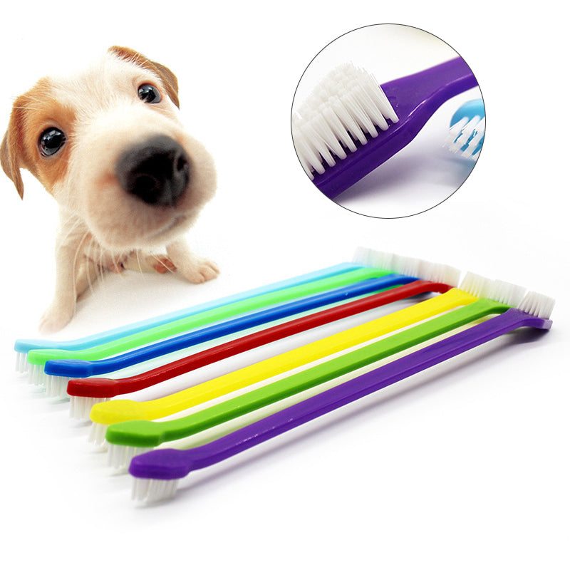 1 pcs Pet Finger Toothbrush Dog Brush Breath Double Head Teeth Care Dog Cat Cleaning Toothbrushes For Dogs Pet Supplies