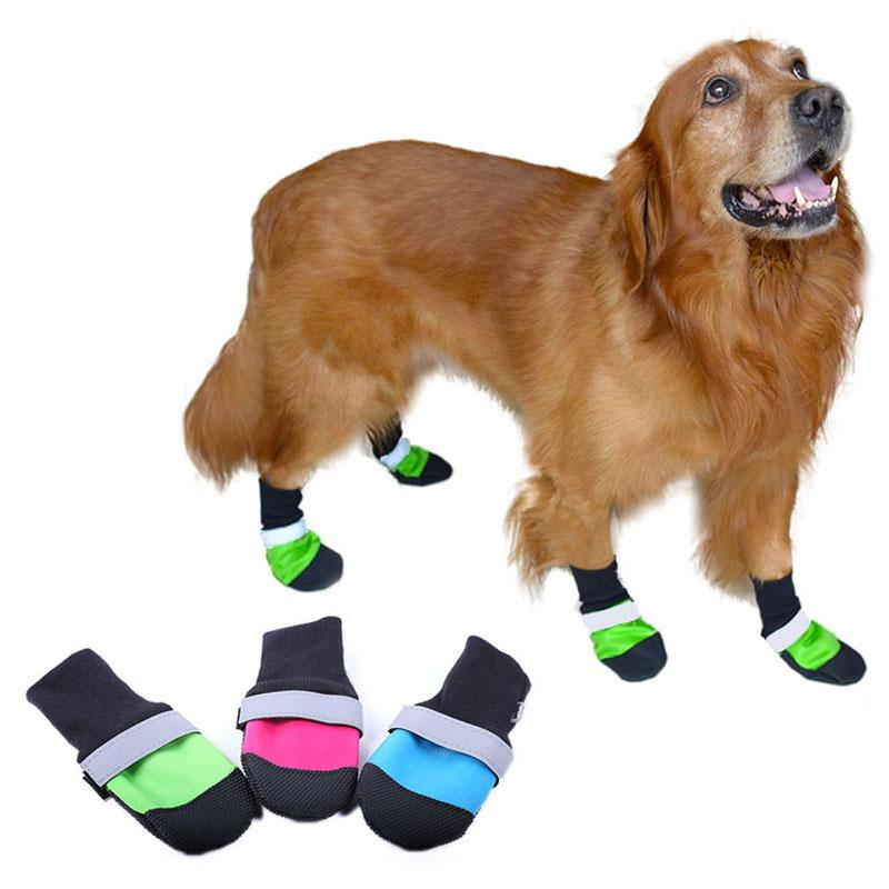 1 set=4 pcs Antiskid Dog Shoes Waterproof Dog Socks for Winter Dog Boots At Home Reflective Pet Boot for Heat Protection