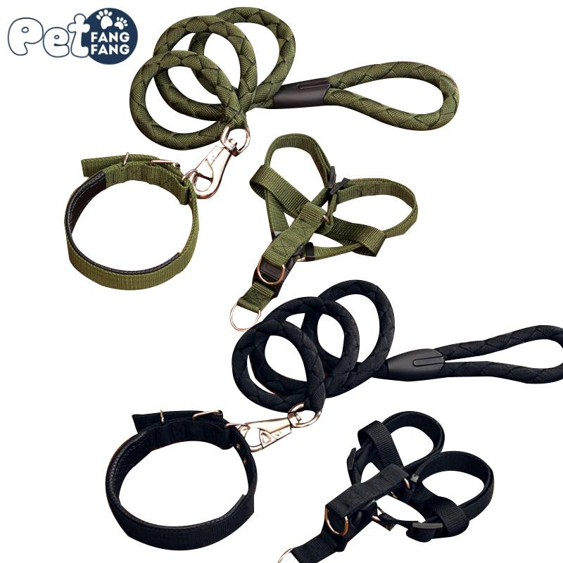 1 set nylon color harness 8colour basic halter harnesses stainless steel all seasons pet dog leashes gift led dog collar id tags