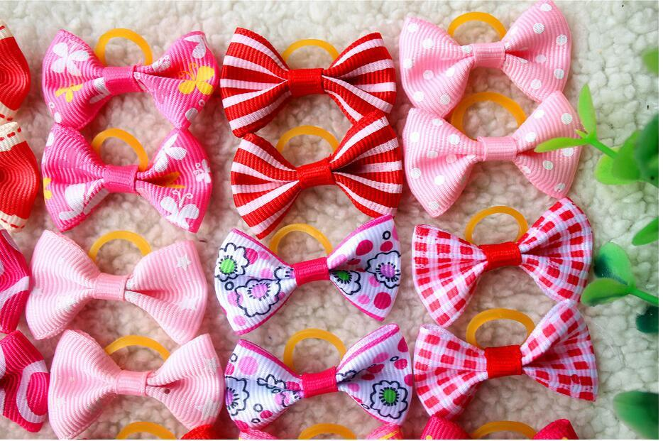 10/20/30PCS pet dog hair bows rubber bands pet dog grooming bows pink rose red girls dog  hair accessories grooming product