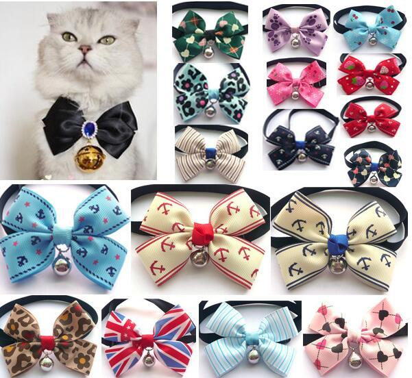 10/20/50pcs Colorful pet puppy Grooming Bows Tie pet classic bows neck tie Fashion dog cat bow tie with small bell and Button