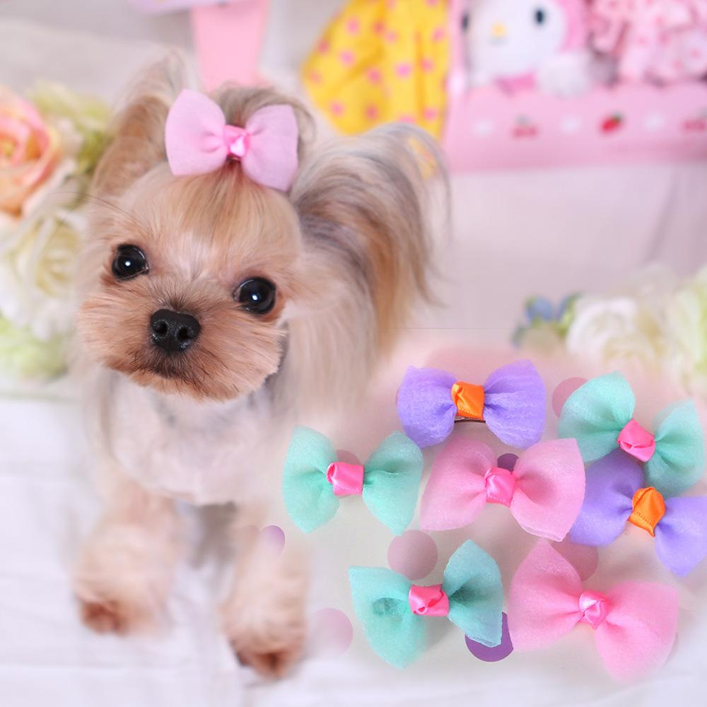 10 Piece/Lot Cute Color Dog Hair Bows Love And Metal Clip Pet  Small Hairpin Pet Supplies Headwear For Pets   MK15D04